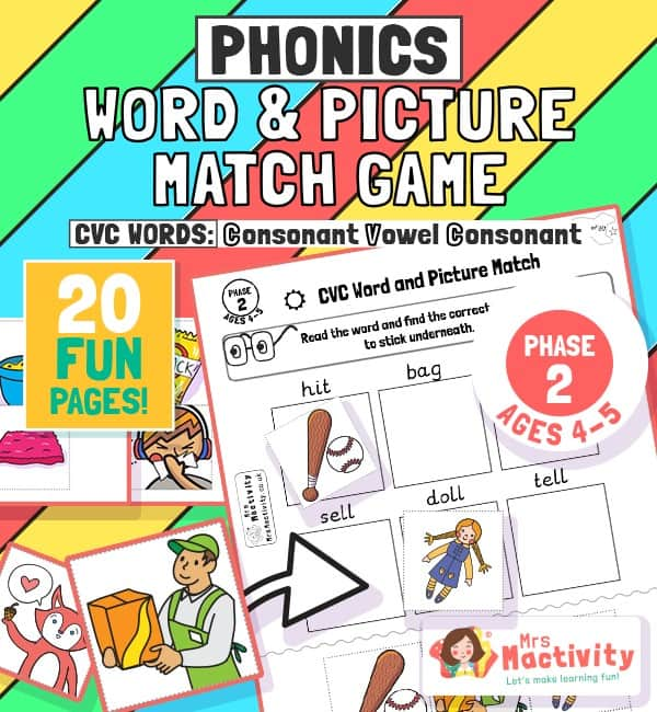 phase 2 phonics CVC word matching