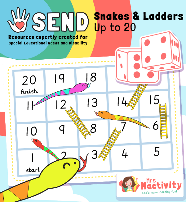 SEND P8 Snakes and Ladders to 20 Game