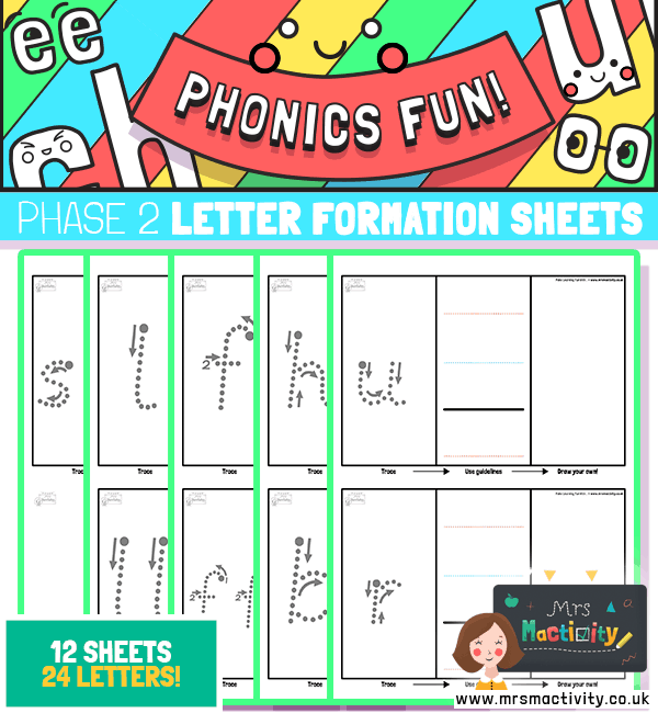 Phase 2 letter formation practise sheets