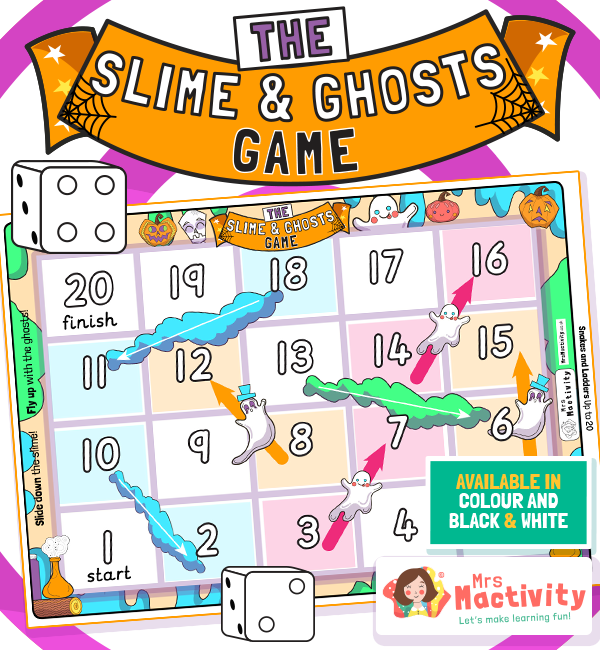 Halloween Slime and Ghosts (Snakes and Ladders) Game