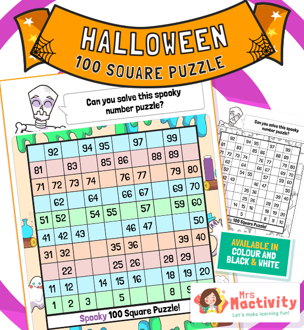 KS1 Halloween Maths 100 Square Puzzle