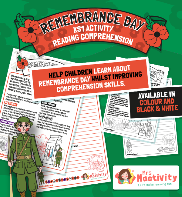Remembrance Day KS1 Reading Comprehension