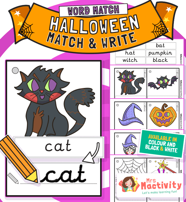 Halloween Word and Picture Match Activity