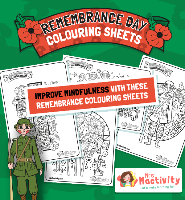 Remembrance Day Mindfulness Colouring Sheets