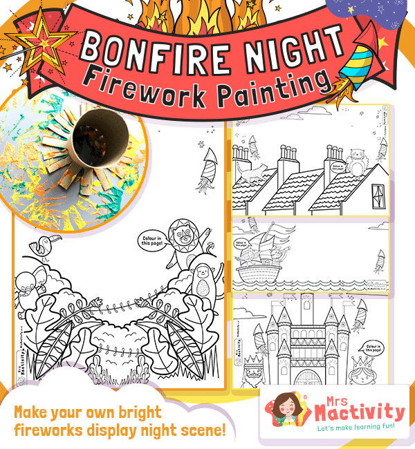 Bonfire Night Firework Painting Activity
