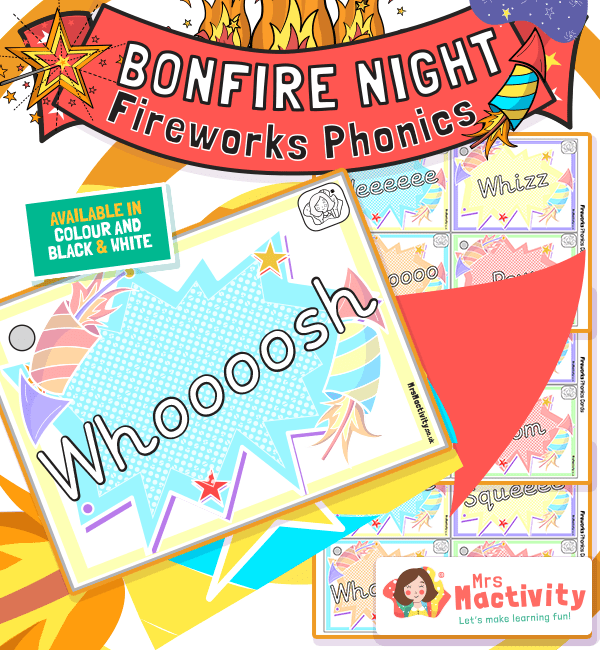 Bonfire Night Firework Sounds Word Cards
