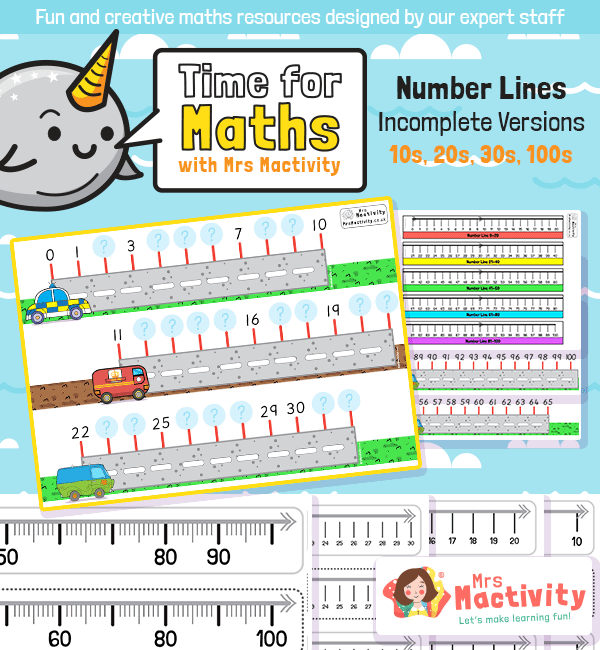 Missing Numbers on the Number Line Worksheets