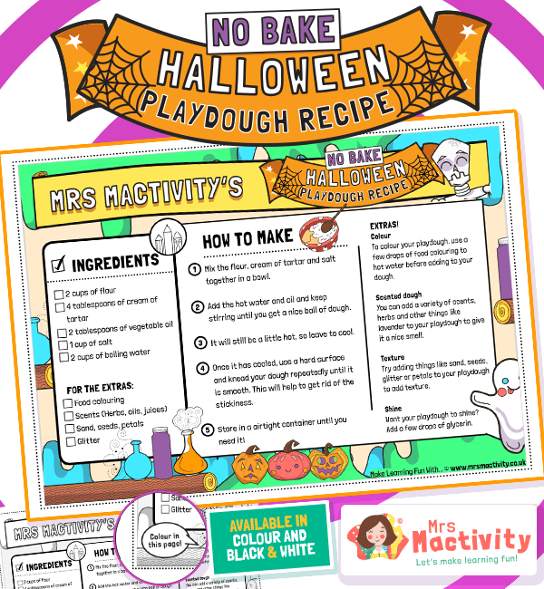 Halloween No-Bake Playdough Recipe Cards