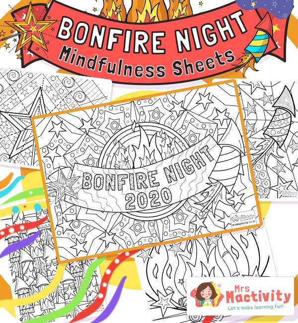 Bonfire Night Mindfulness Colouring Sheets