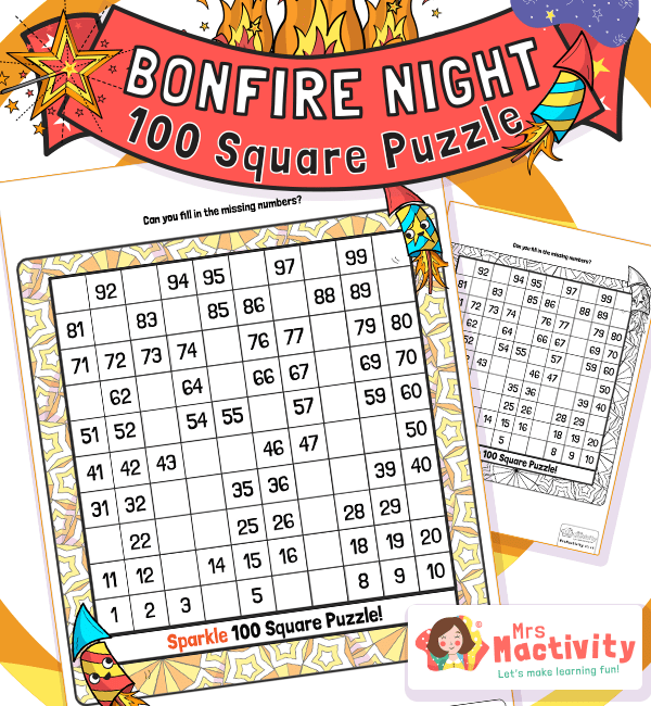 KS1 Bonfire Night 100 Square Puzzle