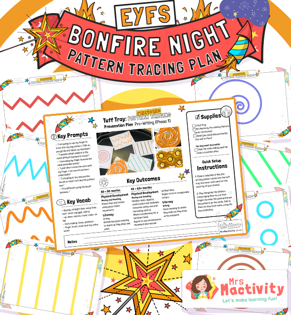 EYFS Bonfire Night Pattern Tracing Plan