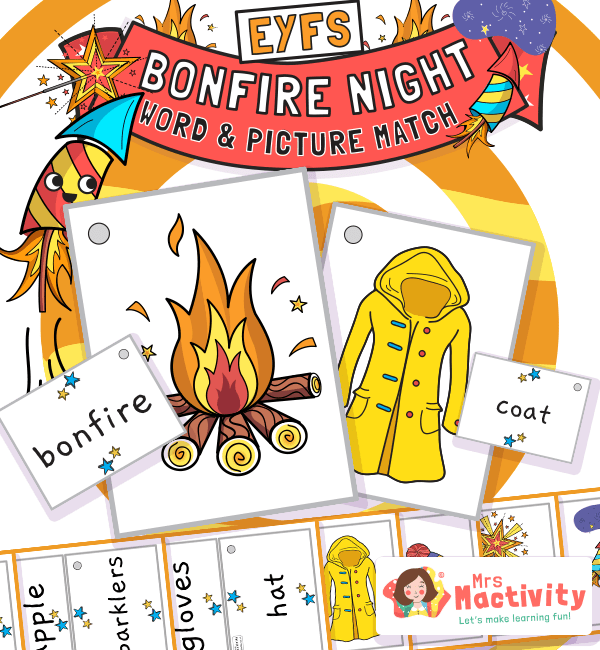 Bonfire Night Word and Picture Match Activity