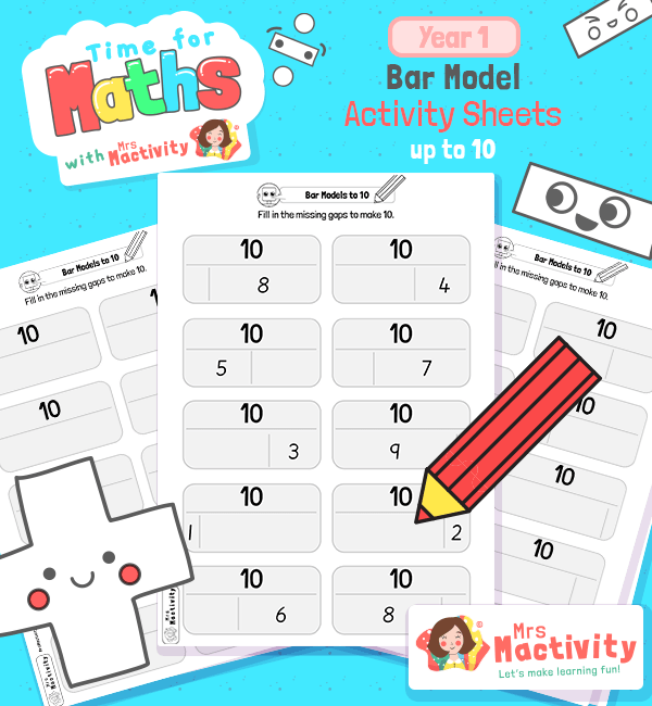 KS1 Bar Model Activity Sheets to 10