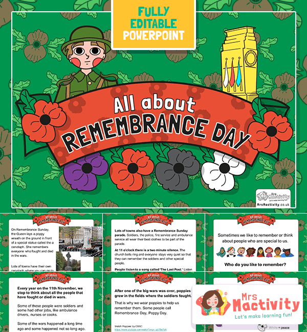 EYFS and KS1 All About Remembrance Day PowerPoint