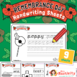 Remembrance Day Handwriting Practice Sheets