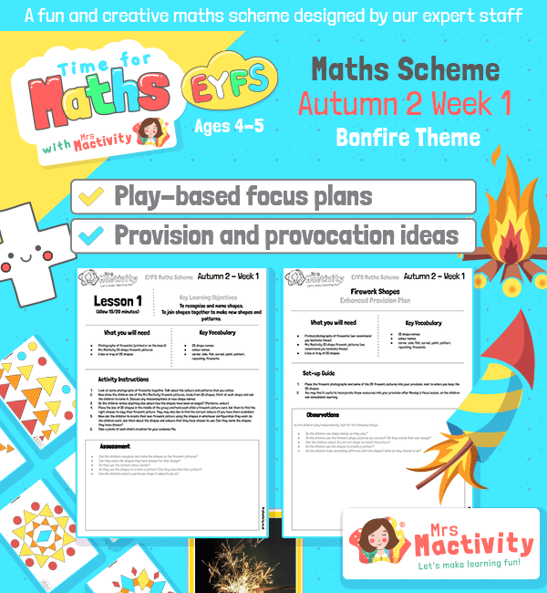 The Mrs Mactivity EYFS maths scheme is designed by an Early Years expert and specifically for use in Reception classrooms and at home. All plans and activities comply with both the EYFS curriculum and the Early Adopter EYFS Curriculum.