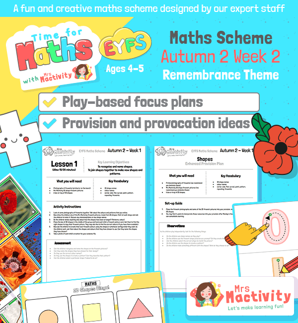 EYFS Maths Planning Pack Autumn 2 Week 2 – Remembrance Day