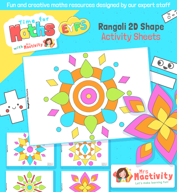Rangoli 2D Shape Activity Sheets