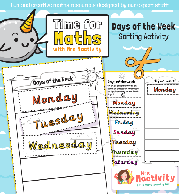 Days of the week sorting worksheet