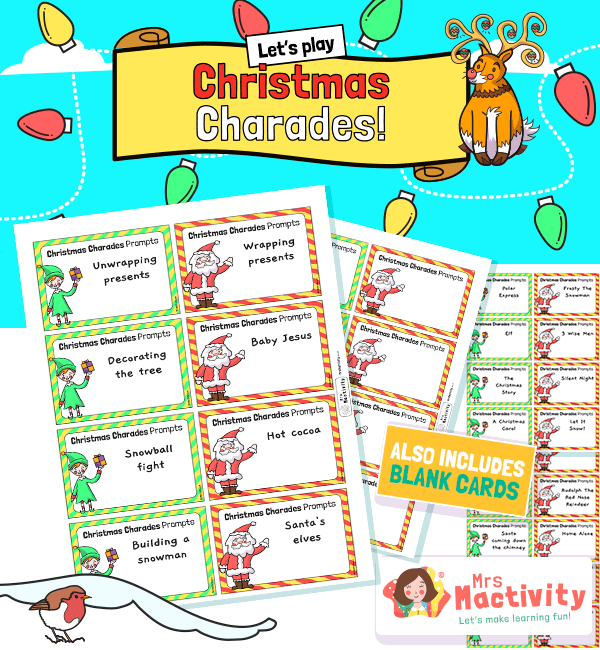 Christmas Christmas Party Games Charades Prompts