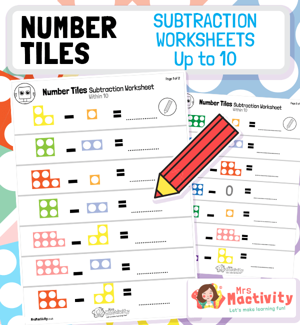 Year 1 Numicon Subtraction From 10 Worksheet