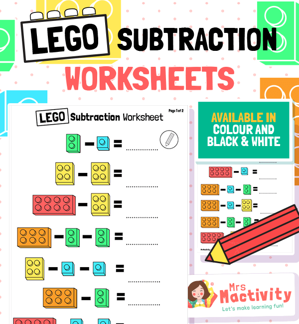Year 1 Lego Subtraction From 10 Worksheet