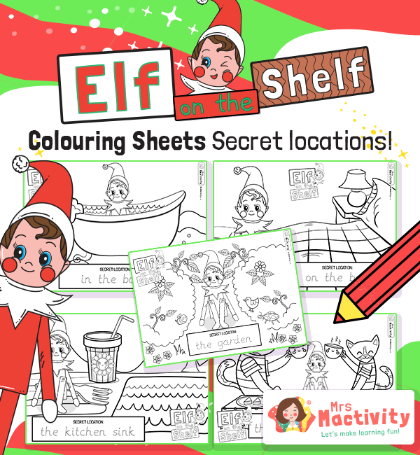 Elf on the Shelf Colouring Sheets With Word Trace