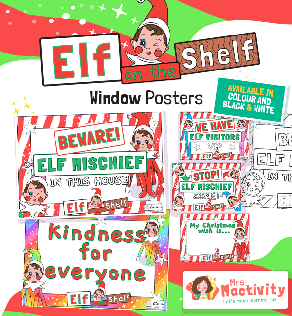 Elf on the Shelf Window Display Posters
