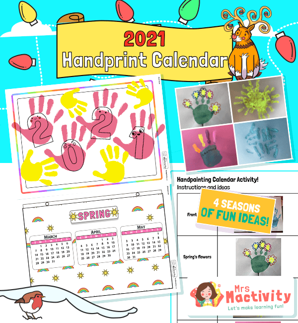 2021 Four Seasons Handprint Calendar Instructions Activity