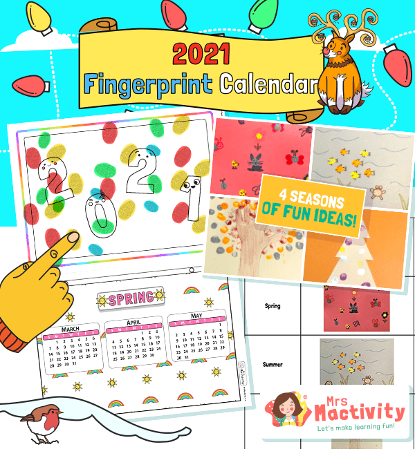 2021 Four Seasons Fingerprint Calendar Instructions Activity