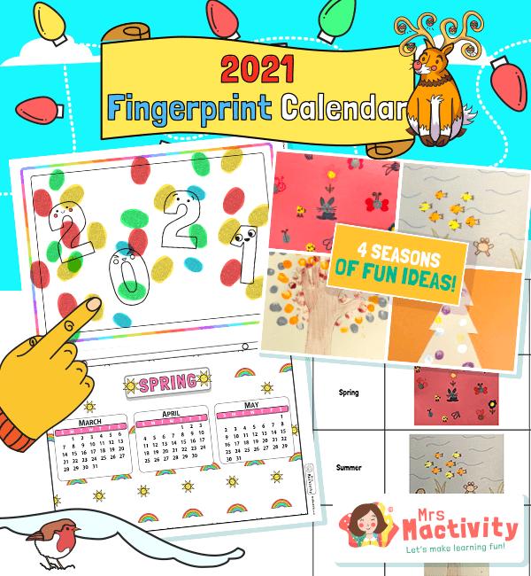 2021 Four Seasons Fingerprint Calendar Instructions Activity