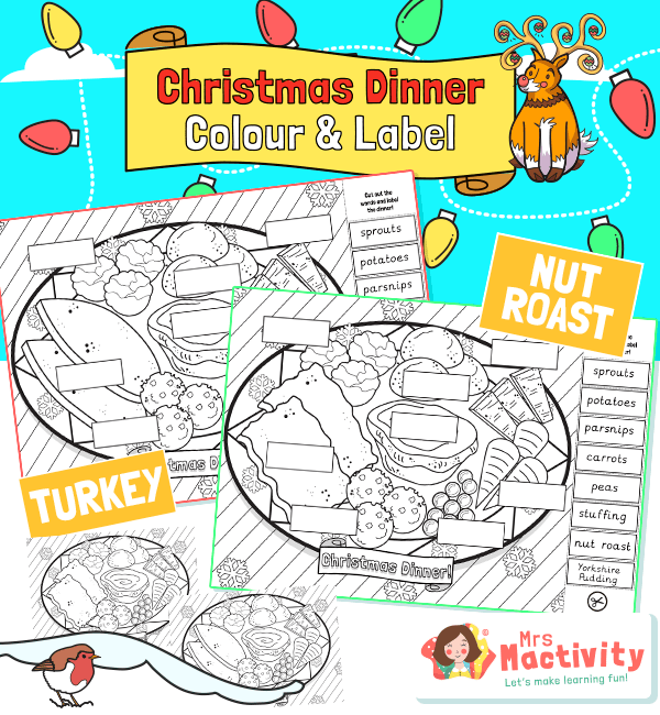 Christmas Dinner Colouring and Labelling Activity