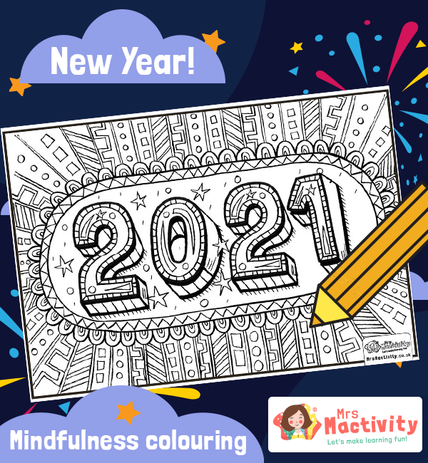New Year 2021 Mindfulness Colouring Page