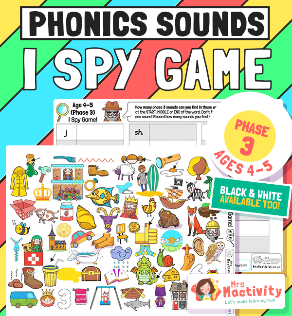 Challenge children to find the phase 2 sounds in this super duper Phase 3 (Age 4-5)) I Spy Game. Packed full of fun and easy to identify objects,