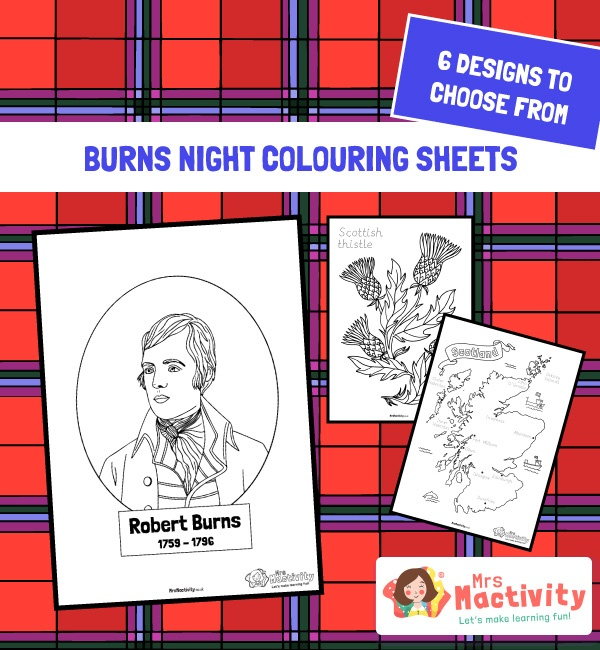 Burns Night Colouring Pages