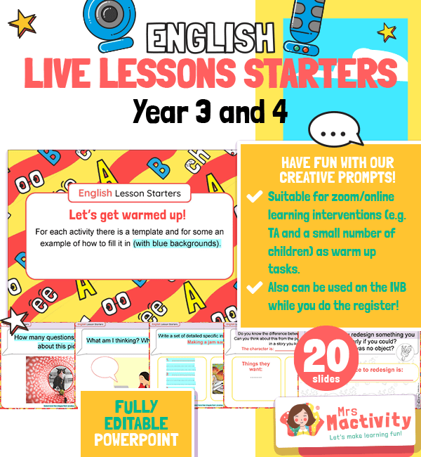 Year 3 and 4 English Live Lesson Warm-up Activities