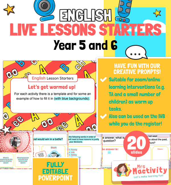 Year 5 and 6 English Live Lesson Warm-up Activities