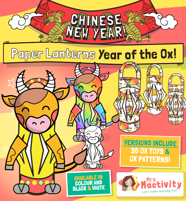 Year of the Ox Chinese Lantern Templates
