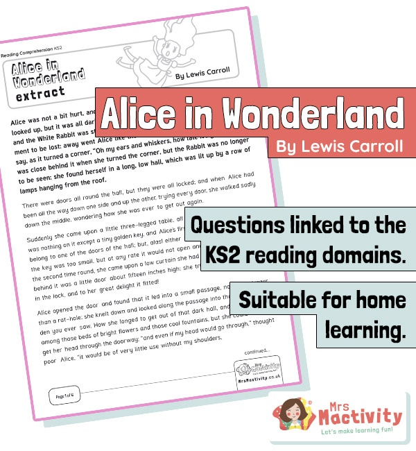 Year 5 Reading Comprehension - Alice in Wonderland