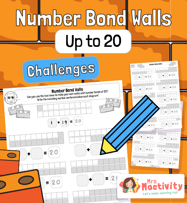 Number Bonds to 20 Practice Worksheets