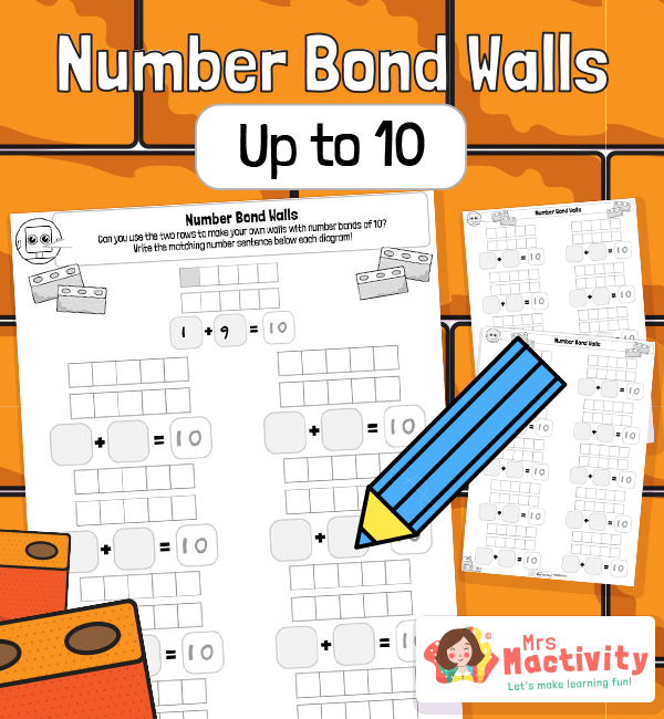 Number Bonds to 10 Practice Worksheets - Blank