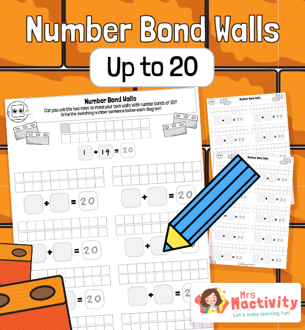Number Bonds to 20 Practice Worksheets - Blank