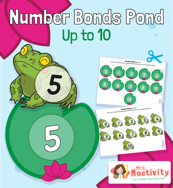 Frog and Lily Pad Number Bonds to 10 Worksheet