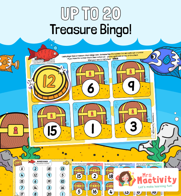 Numbers to 20 Treasure Island Bingo Game