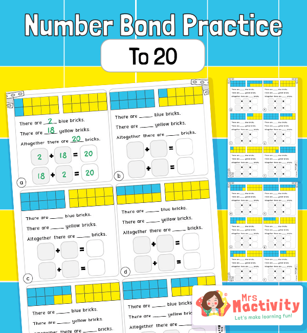 Number bonds to 20 worksheet