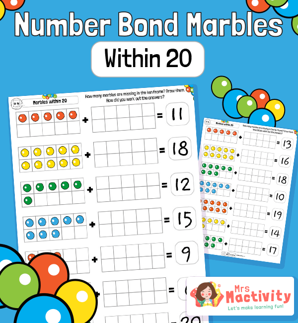 Tens Frames Number Bonds Within 20 Practice Worksheet