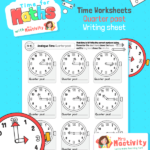 Maths time Time Guess Quarter PAST Worksheet BW