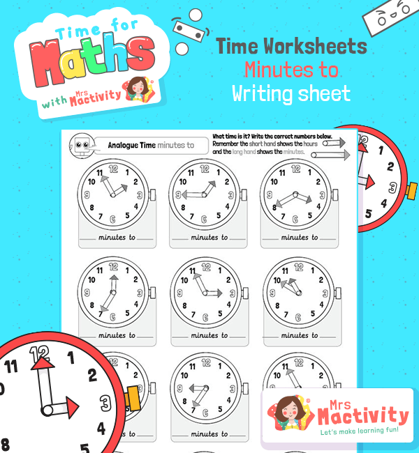 Maths time Time Guess Minutes TO Worksheet BW