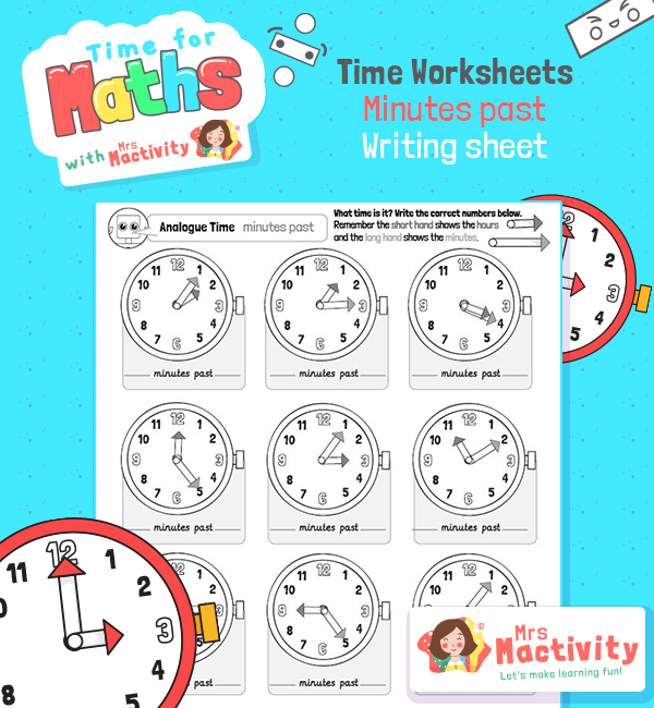 Telling the Time to the Five Minutes Past the Hour Worksheet