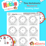Draw on the Time to Five Minutes To The Hour Worksheet
